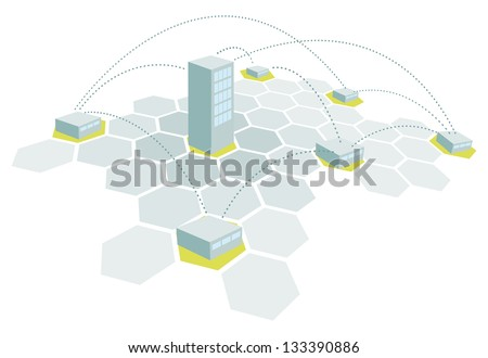 Headquarters and branches / Building office network - stock vector