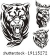 Heads of a bear, lion and panther. Flaming big cats. Vector illustration ready for vinyl cutting. - stock vector
