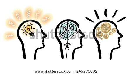 Heads with ideas, money and spider net in it - sketch set - stock vector