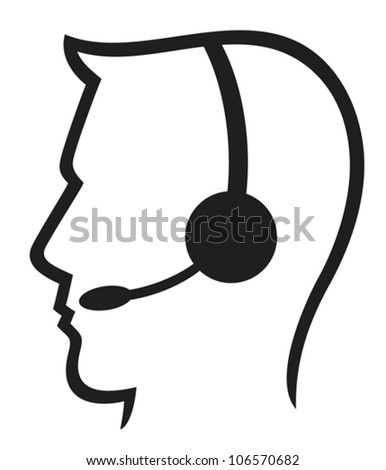 headset symbol (man headset, call center icon, face with headset, support phone operator in headset, man customer support) - stock vector