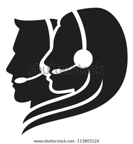 headset symbol (women headset, call center icon, face with headset, support phone operator in headset, women customer support, man headset, man customer support) - stock vector