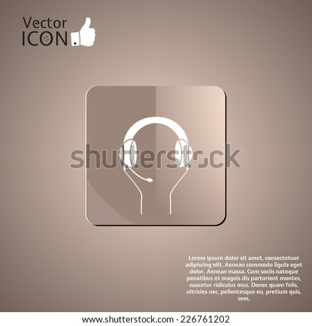 Headset with a microphone icon on the background. Made in vector