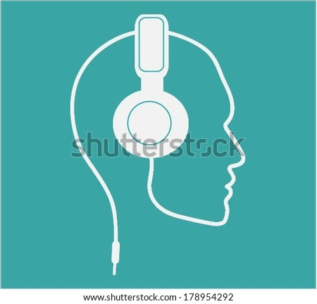 Headset with head  - stock vector