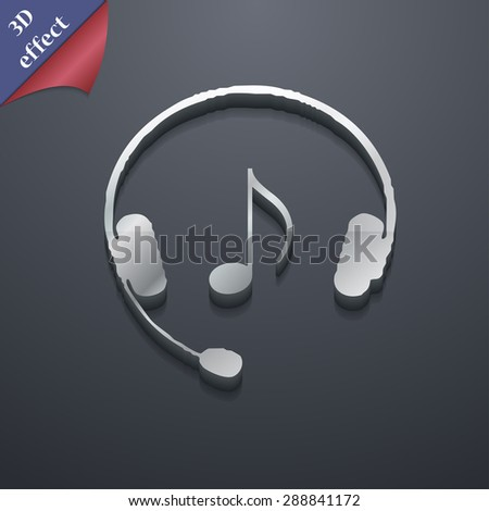 headsets icon symbol. 3D style. Trendy, modern design with space for your text Vector illustration - stock vector