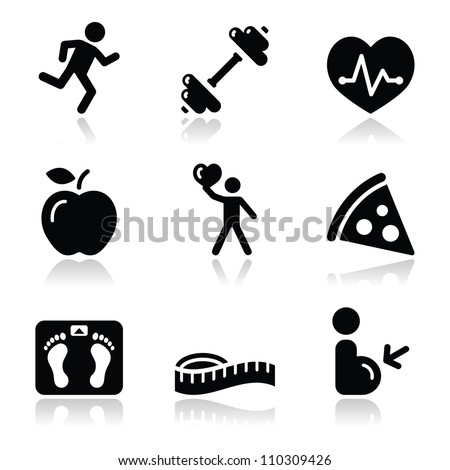 Health and fitness black clean icons set - stock vector