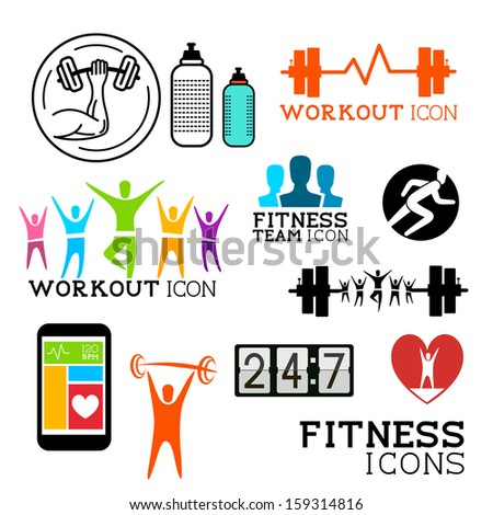 Health and Fitness symbols and icons set. Vector illustrations. - stock vector