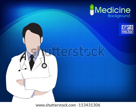 Health and medical background with Doctor (Male). EPS 10. - stock vector