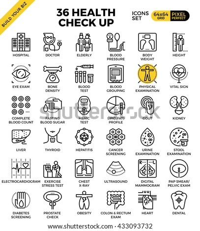 Health and Medical Check up pixel perfect outline icons modern style for website or print illustration