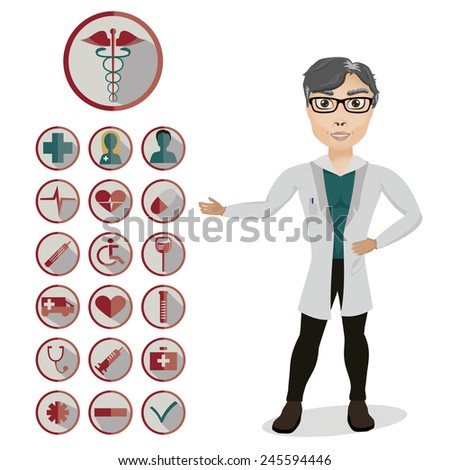 Health and medical icon set with the doctor. Vector icons for video , mobile applications , web sites and print projects . More in this series. - stock vector