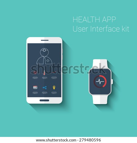 Health app graphic user interface. Medical fitness tracker application for smartphone and smartwatch in modern flat design with line icons. Eps10 vector illustration. - stock vector