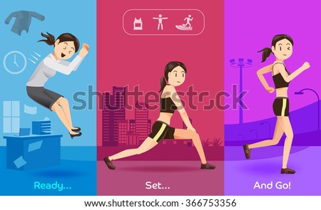 Health care, after hard work.Exercise after work in evening day.The routine women.Discipline of healthy people.Illustration for advertise healthy lifestyle.Graphic design and vector EPS 10. - stock vector