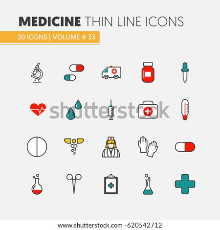 Health Care and Medicine Thin Line Vector Icons Set with Nurse and Medical Elements