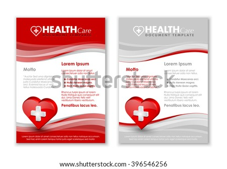 Health care document templates with three dimensional glossy heart icon - stock vector