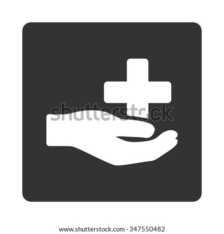 Health Care Donation vector icon. Style is flat rounded square button, white and gray colors, white background. - stock vector