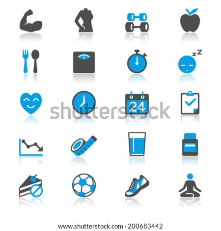 Health care flat with reflection icons - stock vector