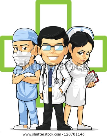 Health Care or Medical Staff - Doctor, Nurse, & Surgeon - stock vector