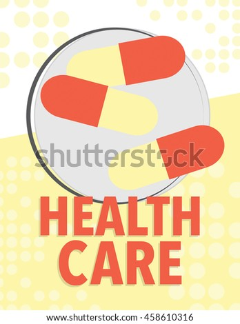 Health care poster with medical symbols - pills - stock vector