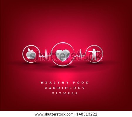 Health care symbol. Healthy food and fitness leads to healthy heart and life. Bright and bold design. - stock vector