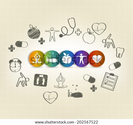 Health care symbol set, hand drawn illustrations. Healthy food, fitness, no stress, healthy weight, doctor visits, good sleep leads to healthy heart and life. - stock vector