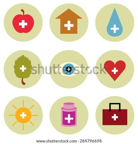 Health Care Symbols Icon Set Vector Stock Vector Hd Royalty Free