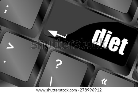 Health diet button on computer pc keyboard vector - stock vector