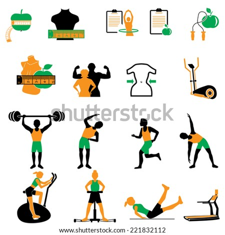Health, fitness and diet icon set - stock vector