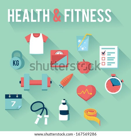 Health & Fitness Icons - stock vector