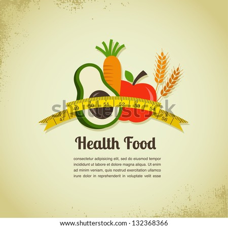 Health food and diet background - stock vector