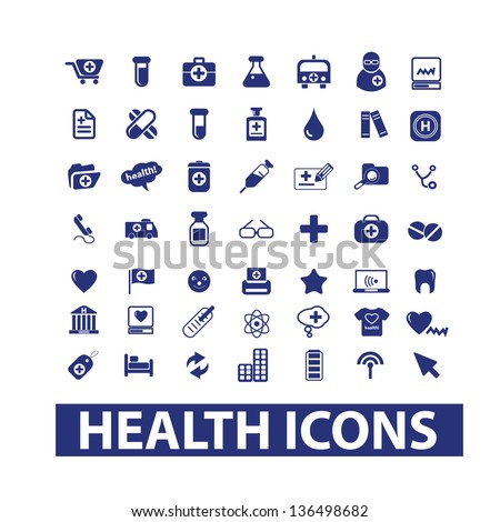 health, hospital, medical & doctor icons, signs set, vector - stock vector