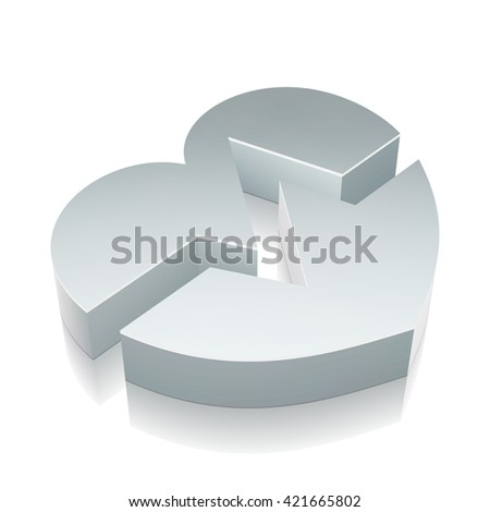Health icon: 3d metallic Heart icon with reflection on White background, EPS 10 vector illustration. - stock vector