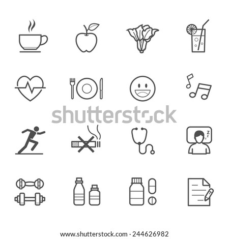Health Icons and Wellness Icons - stock vector