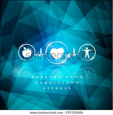 Health icons on a bright blue geometric background. Healthy food and fitness leads to healthy heart, symbols connected with cardiogram line. - stock vector