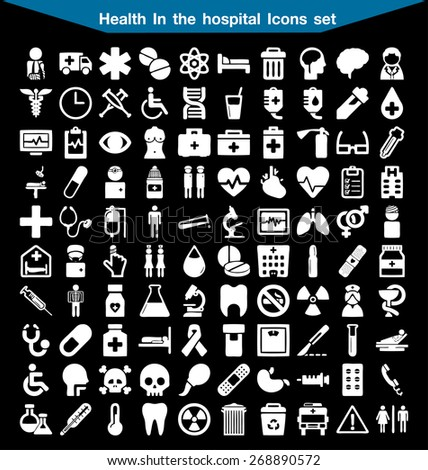Health In the hospital icon set - stock vector