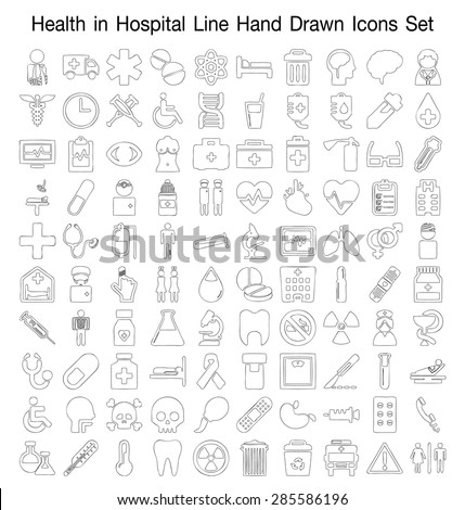 Health In the hospital line Hand Drawn icon set - stock vector