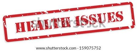Health issues red rubber stamp vector for mental health concept