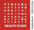 health, medical, hospital white isolated icons, signs set on red background - stock vector