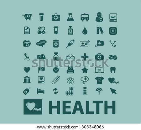 health, medicine flat web isolated icons, signs, illustrations set, vector on background - stock vector