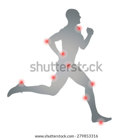 Health problems athletes. Vector silhouette - stock vector