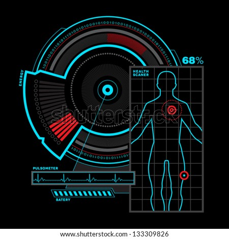 Health scanner interface - stock vector