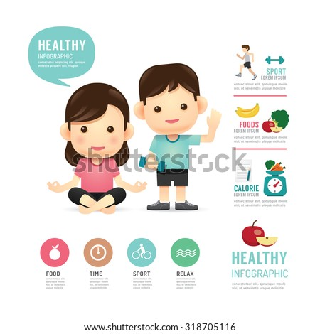 health time food and sport people program design infographic,learn concept vector illustration - stock vector