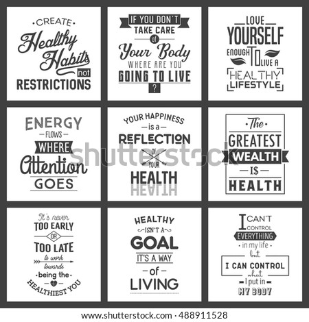 Quotes On Health Stunning Health Typography Quotes Stock Vector 488911528  Shutterstock