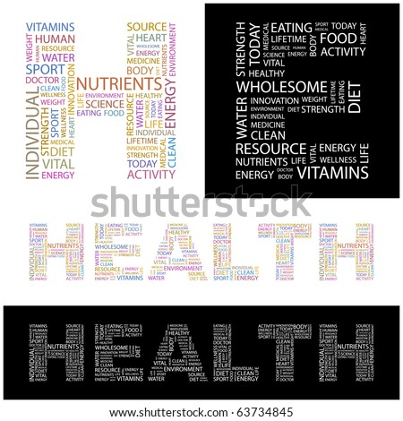 HEALTH. Word collage. Illustration with different association terms. - stock vector