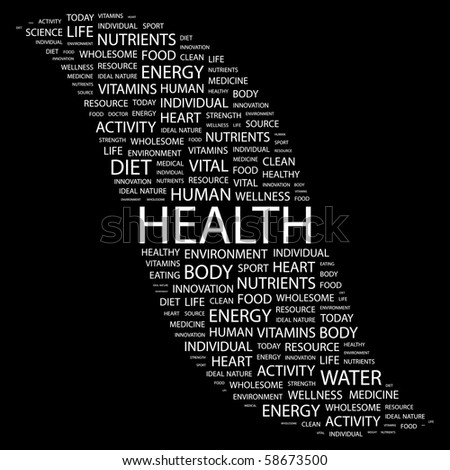 HEALTH. Word collage on black background. Illustration with different association terms. - stock vector