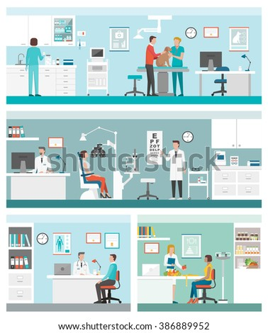 Healthcare and clinics banners set with doctors and patients: veterinarian clinic, optician, general practitioner and dietitian - stock vector