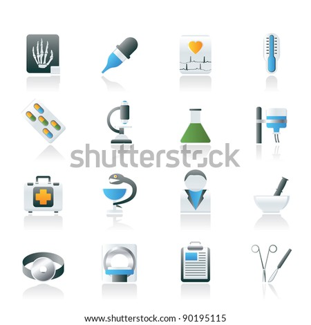 Healthcare and Medicine icons - vector icon set - stock vector