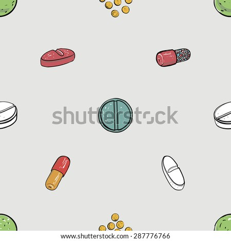 Healthcare background with dragee, pilule, pill, caplet, capsule, tablet, aspirin. Hand drawing vector seamless texture with pharmaceutical objects isolated on white background. Chess grid order - stock vector