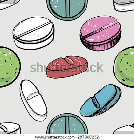 Healthcare background with pilule, pill, dosage, tablet, aspirin, pastil. Hand drawing vector seamless texture with pharmaceutical objects isolated on white background. Chess grid order - stock vector
