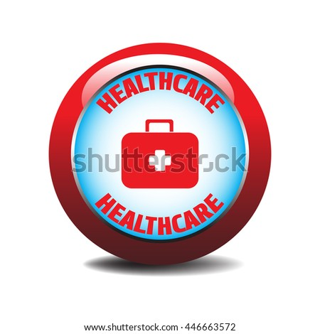 Healthcare button with emergency suitcase design isolated on a white background - stock vector