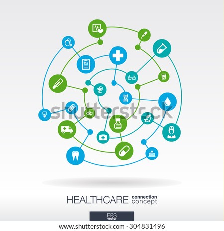 Healthcare connection concept. Abstract background with integrated circles and icons for medical, health, care, medicine, network, social media and global concepts. Vector infographic illustration.  - stock vector