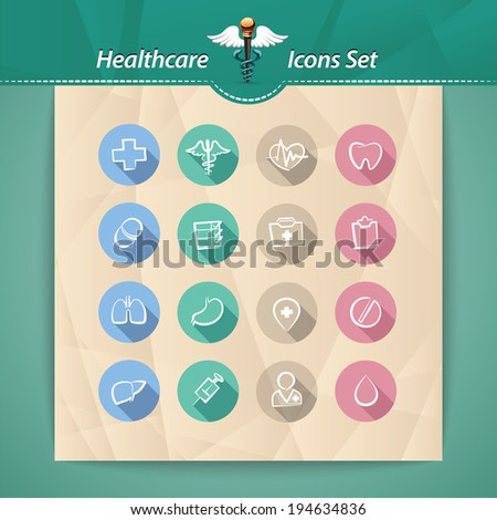 Healthcare Flat Icons Set. In the EPS file, each element is grouped separately. - stock vector
